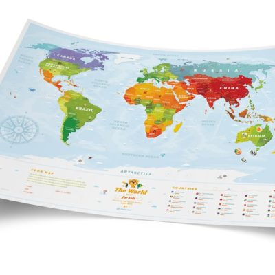 Карта світу «Travel Map Kids Animals» (рос+англ) (тубус)