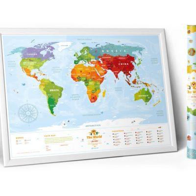 Карта мира «Travel Map Kids Sights» (рос+англ) (тубус)