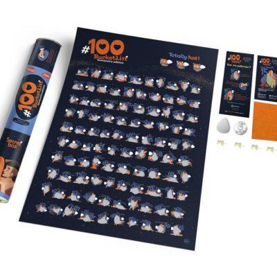 Скретч постер «#100 BucketList KAMASUTRA edition» (англ) (тубус)