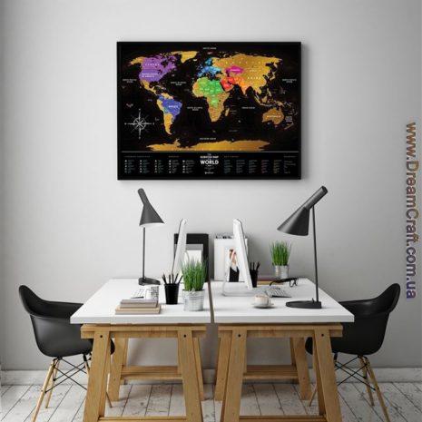 1dea Travel Map Black World 002