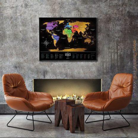 1dea Travel Map Black World 003