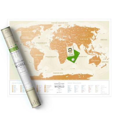 Скретч карта мира «Travel Map Gold World» (укр) (тубус)
