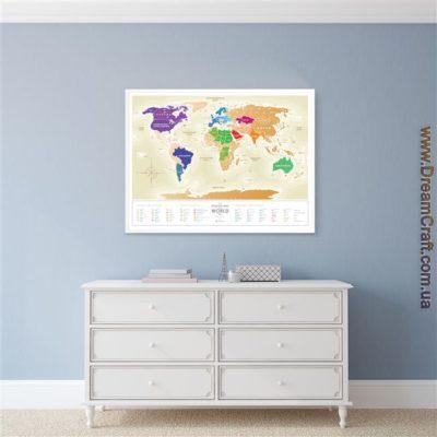 Скретч карта мира «Travel Map Gold World» (рос) (тубус)
