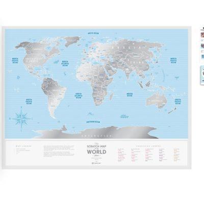 Скретч карта мира «Travel Map Silver World» (англ) (тубус)