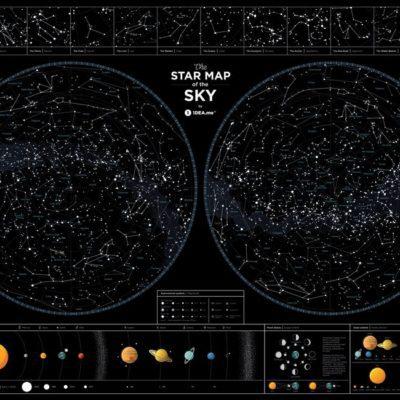Карта звездного неба «Star map of the sky» (англ) (тубус)