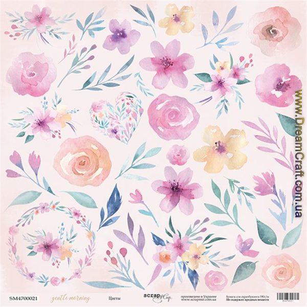 Лист односторонней бумаги для вырезания 30x30 Scrapmir Цветы Gentle Morning