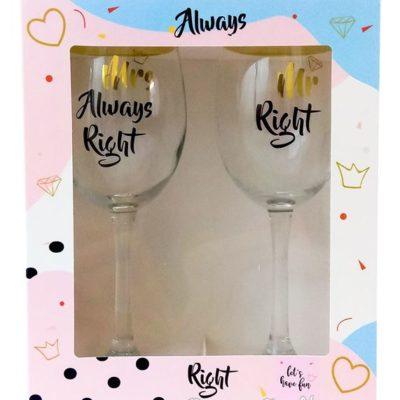 Набор винных бокалов «MR+MRS»