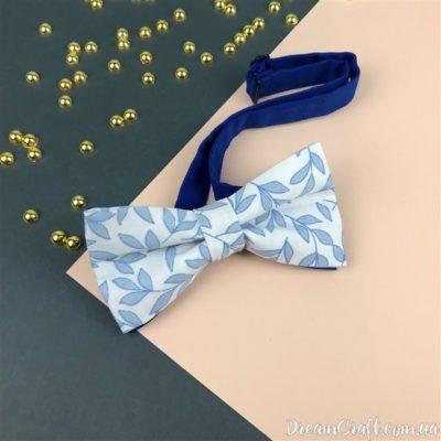 Галстук-бабочка двойная, Белая-голубые цветы