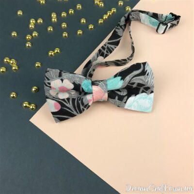 Галстук-бабочка двойная, Серый-микс цветы