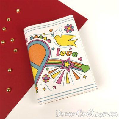 Обложка на паспорт «Peace and Love» DC-026