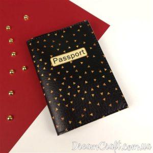 Обложка на паспорт «Black and Gold» DC-067
