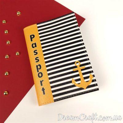 Обложка на паспорт «Stripes anchor» DC-073