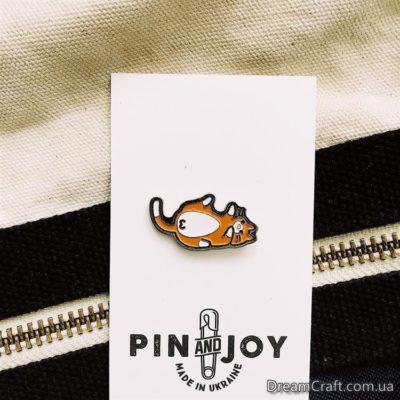 Значок Pin&Joy Ленивый кот РЫЖИЙ