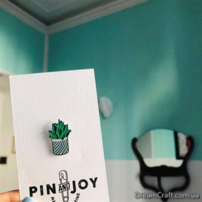 Значок Pin&Joy Горшок зеленый полосатый