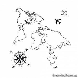 Временное тату Карта мира