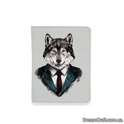 Обложка на документы — Волк в костюме