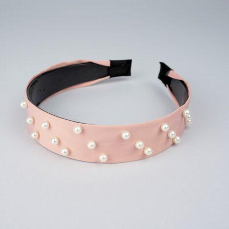 Обручи для волос пластик/текстиль с жемчугом Розовый 25 мм