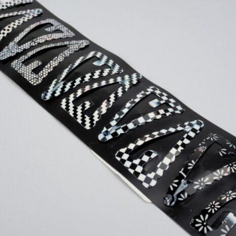 Заколки для волос тик-так металл 45x2 мм, черно-белые кружево