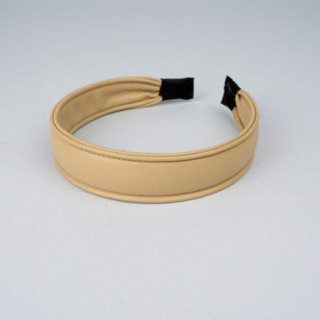 Обручи для волос эко-кожа бежевый 28 мм