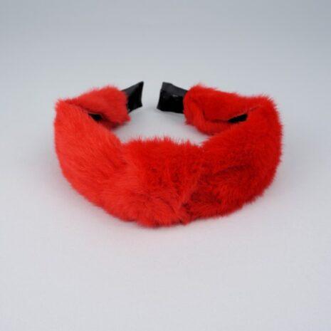 Обруч чалма для волос меховые красный 30 мм