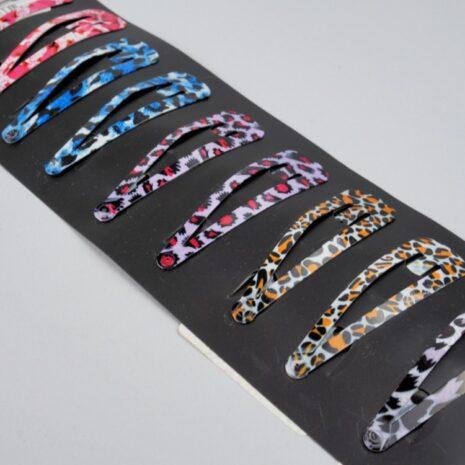 Заколки для волос тик-так металл 58x17 мм, леопард розово-черный