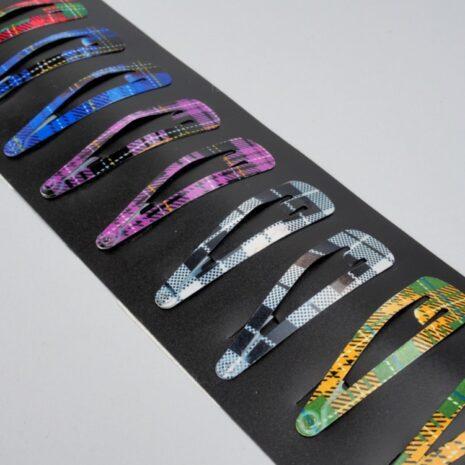 Заколки для волос тик-так металл 58x17 мм, клетка розово-зеленый