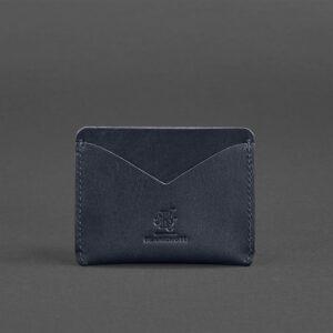 Кожаный кард кейс-слим 5.0 темно-синяя