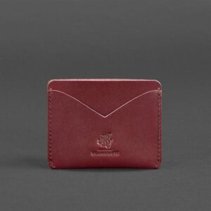 Кожаный кард кейс-слим 5.0 бордовая