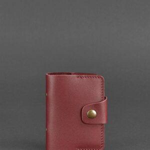 Кожаный кард-кейс 7.1 (Книжечка) бордовый