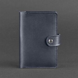 Кожаная обложка для паспорта 3.0 темно-синий