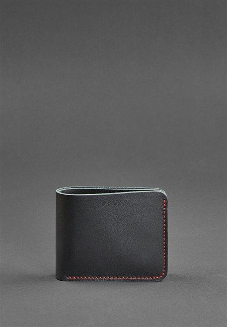 Портмоне кожаное 4.1 Чорное с красно нитью