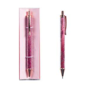Металлическая ручка с глиттером в коробке Red stars