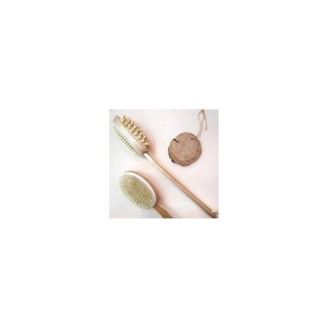 Щетка для тела антицеллюлитная двойная с натуральной щетиной и массажером