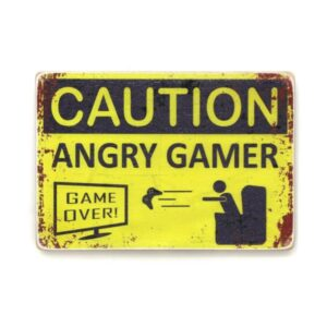 "pvh0015 Постер ""Caution. Angry gamer"""