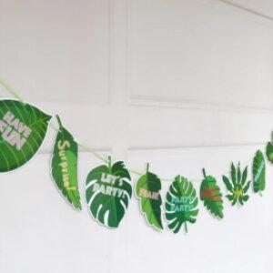 "Бумажная гирлянда ""Зелёные листья"", 3 метра"
