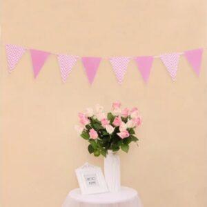 Бумажная гирлянда из вымпелов розовая, 12 флажков