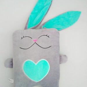 Іграшка-подушка Strekoza Закоханий Заєць 34см сірий/м'ятний