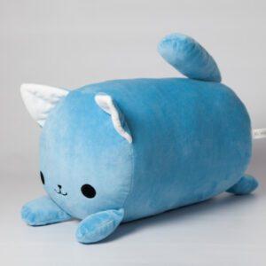 М'яка іграшка подушка валик Strekoza Котик Айсі 39см блакитний