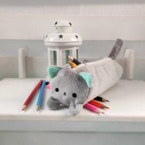 Пенал котик Айсі 19см сірий