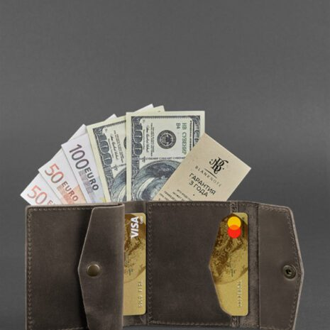 Кожаный кошелек 2.1 темно-коричневый Crazy Horse