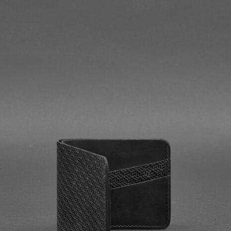 Мужское кожаное портмоне 4.1 (4 кармана) черное Карбон