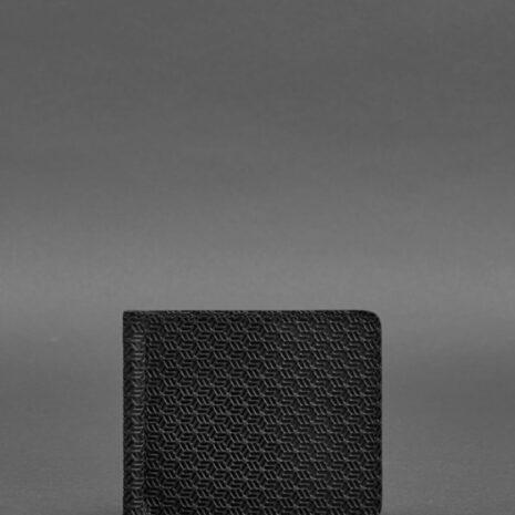 Мужское кожаное портмоне 1.0 зажим для денег черный Карбон