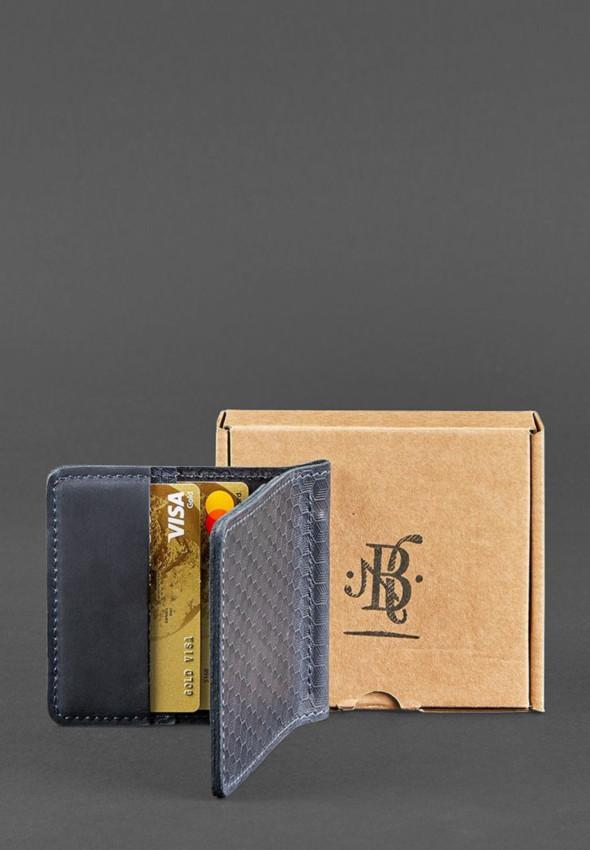 Мужское кожаное портмоне синее 1.0 зажим для денег Карбон