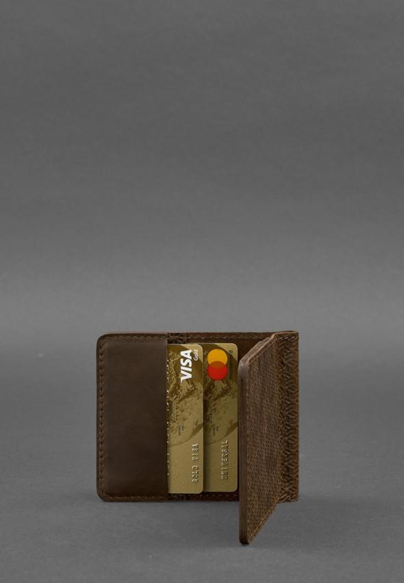 Мужское кожаное портмоне темно-коричневое 1.0 зажим для денег Карбон