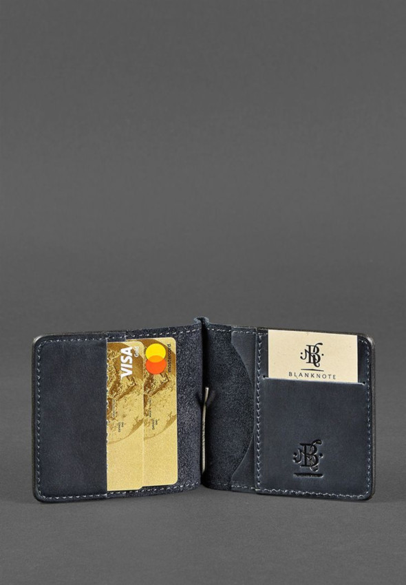 Мужское кожаное портмоне синее 1.0 зажим для денег