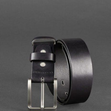 Мужской кожаный ремень 40 мм черный