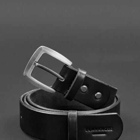 Мужской кожаный узкий ремень 33 мм Черный