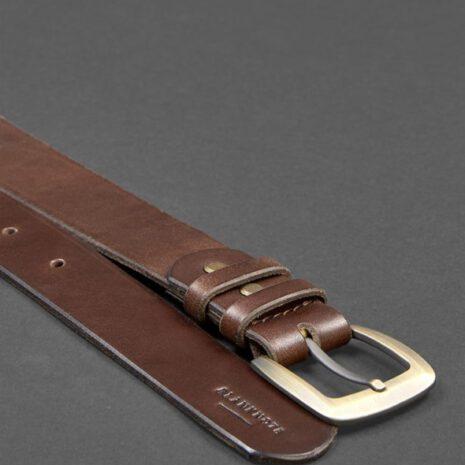 Мужской кожаный узкий ремень 33 мм Коричневый