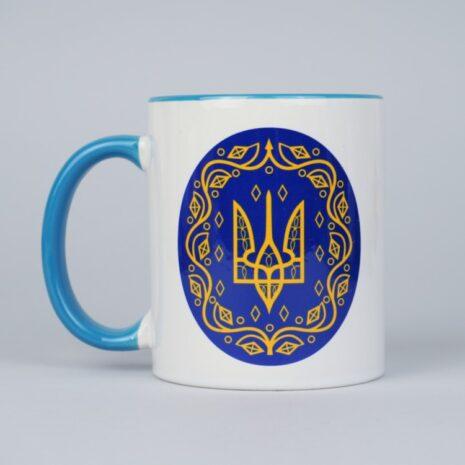 Чашка Герб Украина 330 мл Белая с голубым