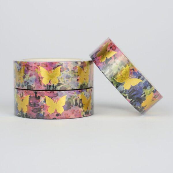 Скотч декоративный золотые бабочки на цветном